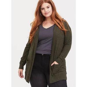 Torrid Super Soft Plush Emerald Green Hooded Cardigan Sweater Size 2X